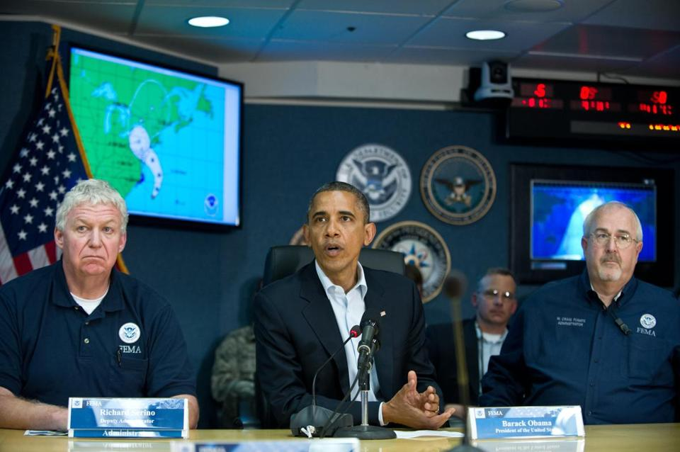 FEMA official Richard Serino (left), President Obama, and FEMA chief Craig Fugate at a 2012 Hurricane Sandy briefing.